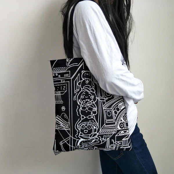 Stick Figure Zipper Canvas Shoulder Bag