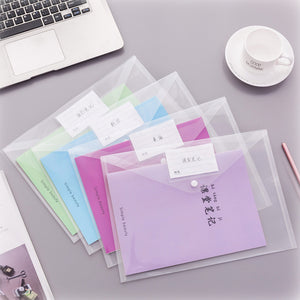 1 Piece A4 Transparent Button File Organizer KINIYO Stationery