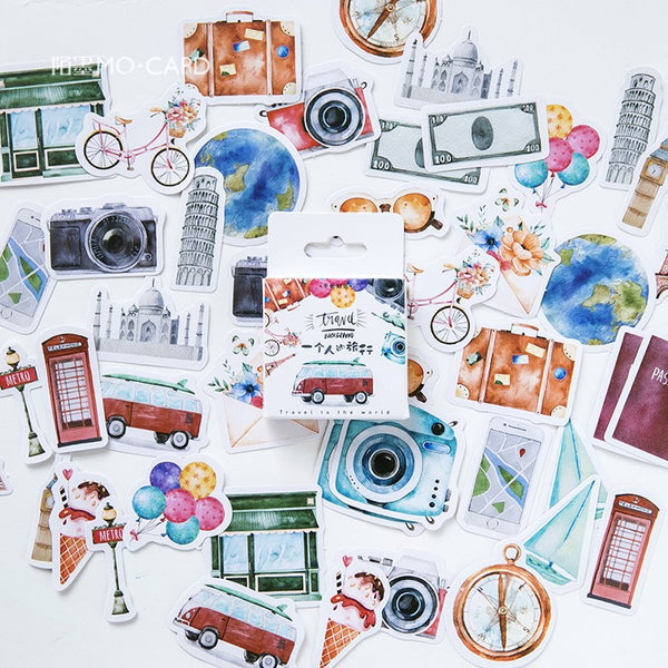 45pcs Travel Alone Series Sticker KINIYO Stationery