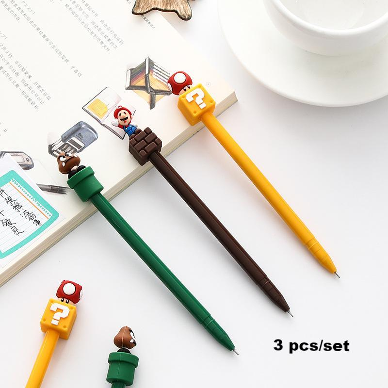 3pcs 0.5mm Super Mario Gel Pen KINIYO Stationery