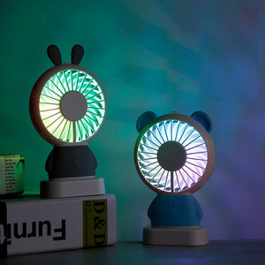 Cartoon USB Led Colorful Light Portable Fan