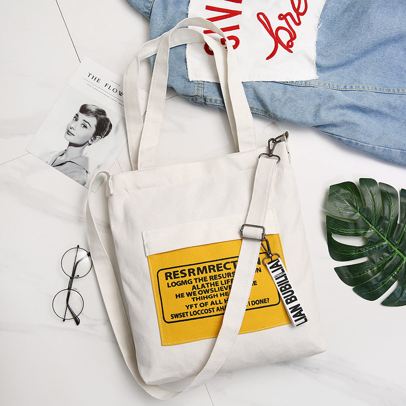 Casual Environmental Canvas Zipper Shoulder Bag