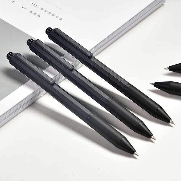 12pcs 0.5mm Retractable Black Ink Color Fast Dry Gel Pen