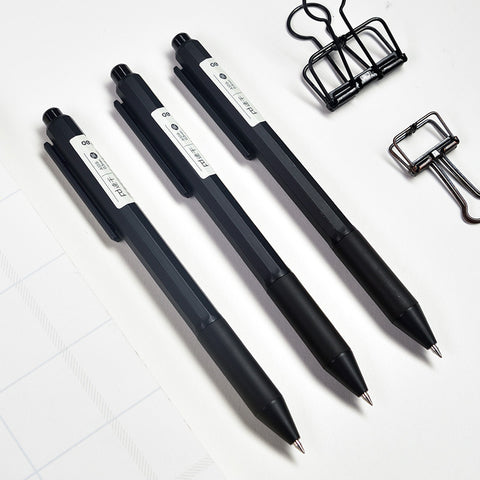 12pcs 0.5mm Retractable Black Ink Color Fast Dry Gel Pen KINIYO Stationery