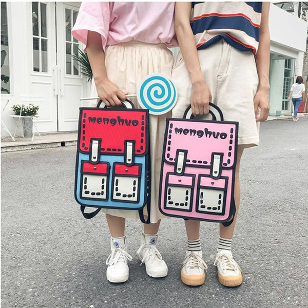 Comic Contrast Color Nylon Backpack