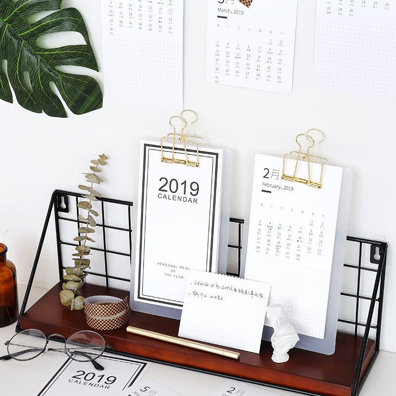 1 Piece 2019 Menu Daily Schedule Desk Calendar with clip & board