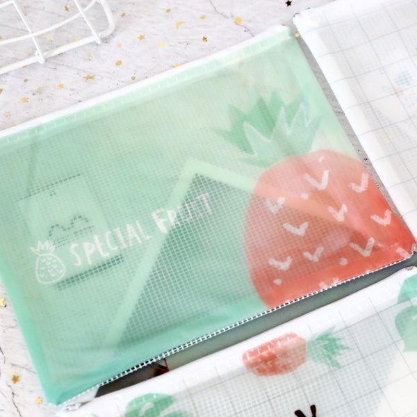 1 Piece PVC Pineapple Zipper File Organizer KINIYO Stationery