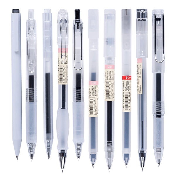 Transparent Barrel Black Gel Pen(8 Style) KINIYO Stationery