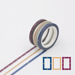 3pcs 3mm Fine Washi Decoration Tape KINIYO Stationery
