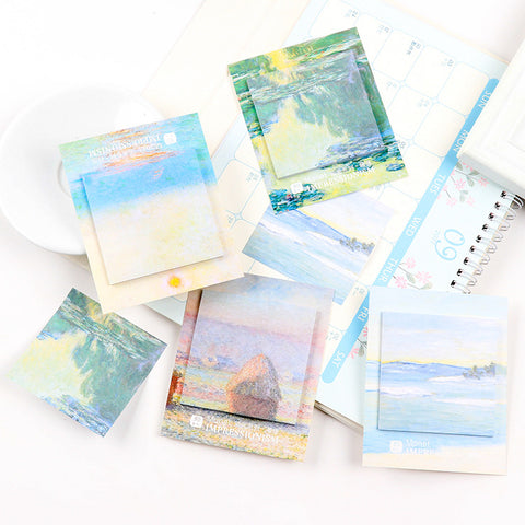 4pcs Oil Painting Sticky Note