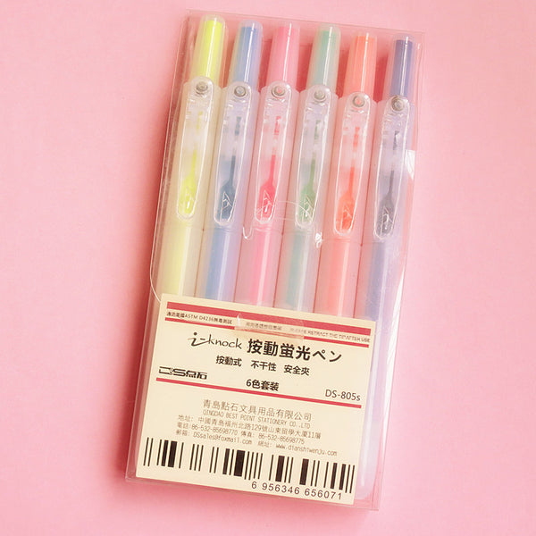 6pcs Transparent Pushable Fluorescent Pens