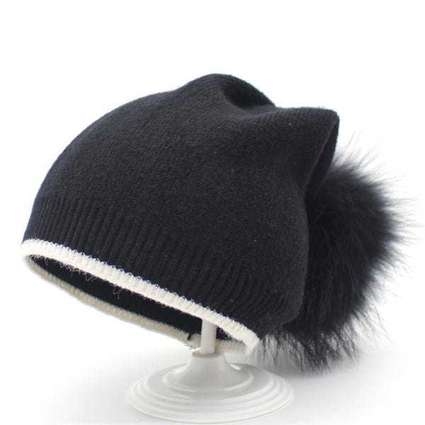 White Edge Colorful Furry Ball Cashmere Beanie