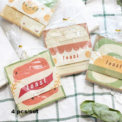 4pcs Toast Series Writing Pads