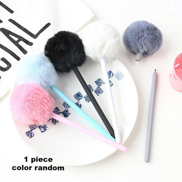 1 Piece Plush Ball Gel Pen KINIYO Stationery