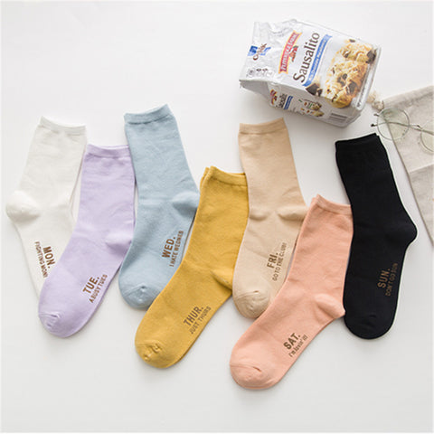 7 Pairs Letter Seven Days Couple Cotton Socks KINIYO Stationery