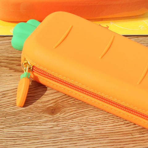 1 Piece Soft Silicone Cute Carrot Pen Pencil Case