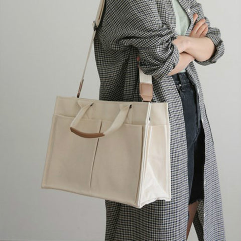 White Multi-pocket  Canvas Shoulder Bag