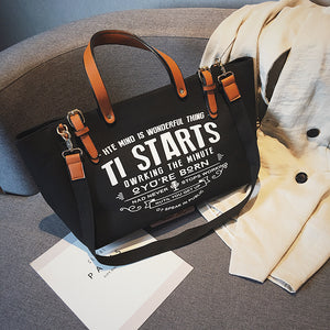 Buckle Slogan Large Capacity Handbag