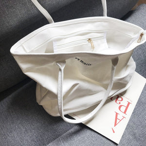 Simple Zipper Large Capacity Canvas Handbag