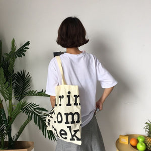 Chic Letter Canvas Shoulder Bag