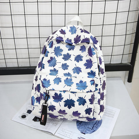 Maple Leaf Large Capacity Canvas Backpack