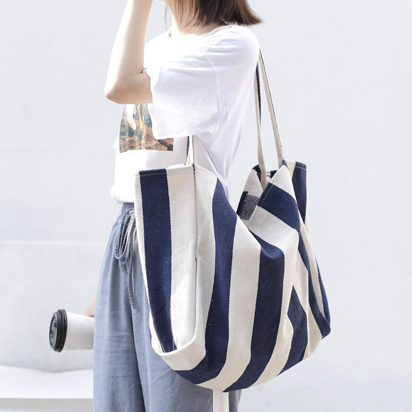 Casual Stripe Canvas Shoulder Bag
