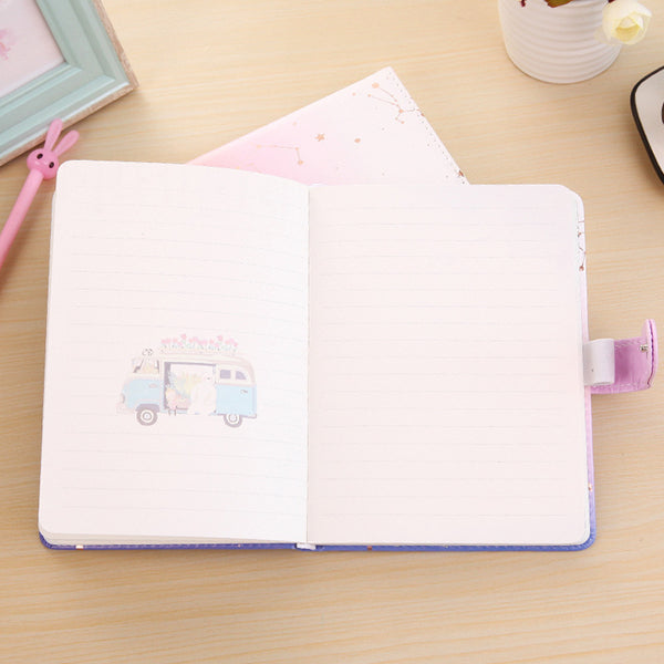 1 Piece 108 Sheets Leather Cover Constellation Notebook KINIYO Stationery