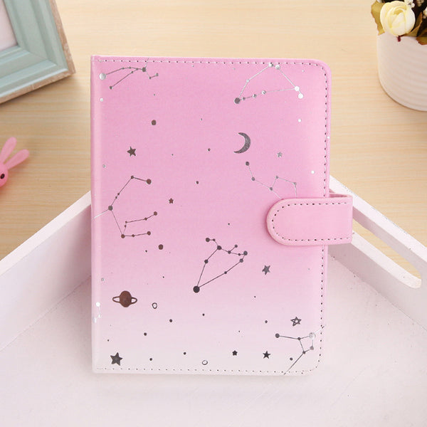 1 Piece 108 Sheets Leather Cover Constellation Notebook