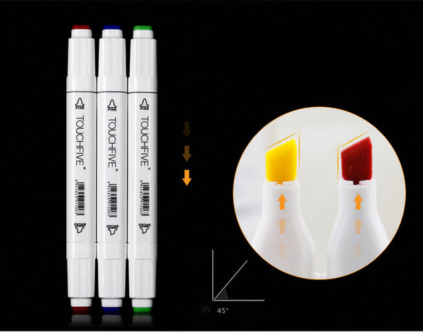 24/36/48/60/80/168pcs TOUCH FIVE Oily Ethyl Alcohol Dual Tip Mark Pen KINIYO Stationery