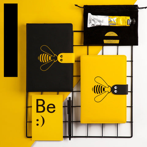 1 Piece Cute Bee PU Cover Schedual Notebook KINIYO Stationery