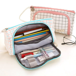 ab963d6253 1 Piece Multifunctional Big Volume Canvas Pencil Case KINIYO Stationery