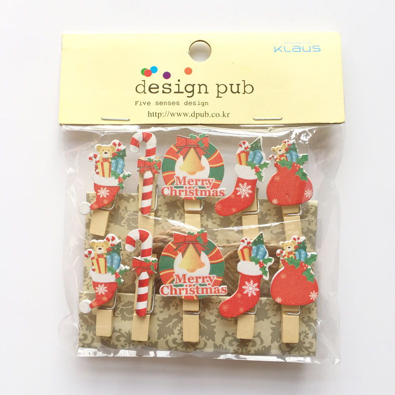 10pcs Christmas Wooden Photo Clip With Hemp Rope