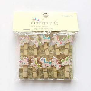 10pcs Unicorn Wooden Photo Clip with Hemp Rope