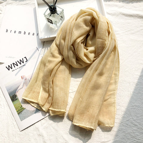 Pure Color Signature Cotton Cashmere Shawl Scarf