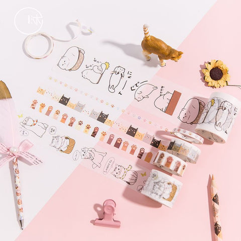 6pcs Simple Cat Series Decoration Washi Tape