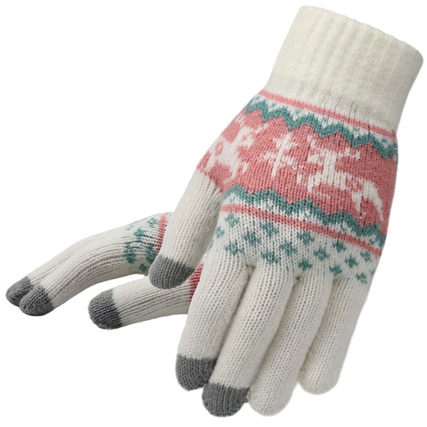 Deer Knitted Acrylic Telefingers Gloves