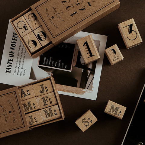 Number/Month Deco Wooden Stamp+stationary1