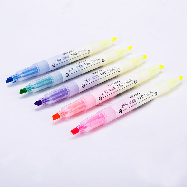 5pcs Candy Color Double Head Marker&Highlighter