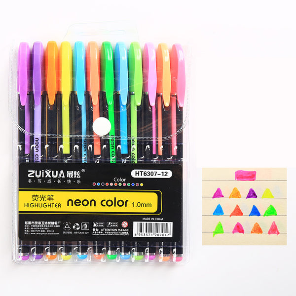 12pcs Neon Color Highlighter Pens