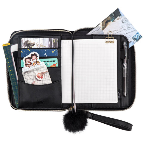 A6 Black Swan PU Cover Planner with Zipper Paper kiniyo stationary 4124p