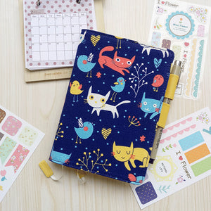 A6 Cat&Bird Fabric Cover Planner Paper kiniyo stationary 4173p