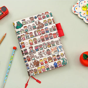A6 Creative Cartoon PU Cover Planner Notebook Paper kiniyo stationary 4348p