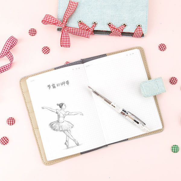 A6 Creative Girlish Design Pink Ribbon Planner Paper kiniyo stationary 4153p