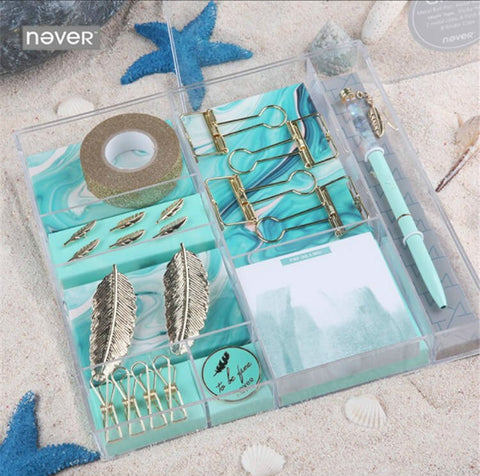 Blue Gold Feather Collection 8 Products Stationery Set