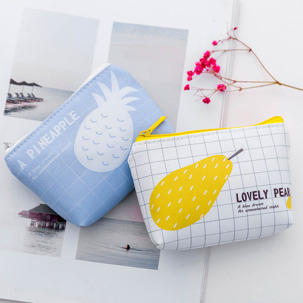 Cartoon Fruit&Rabbit Zipper PU Coin Purse Canvas Bag kiniyo stationary 3791p