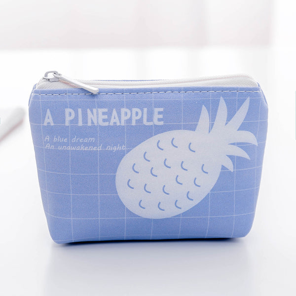 Cartoon Fruit&Rabbit Zipper PU Coin Purse Canvas Bag kiniyo stationary 3792p