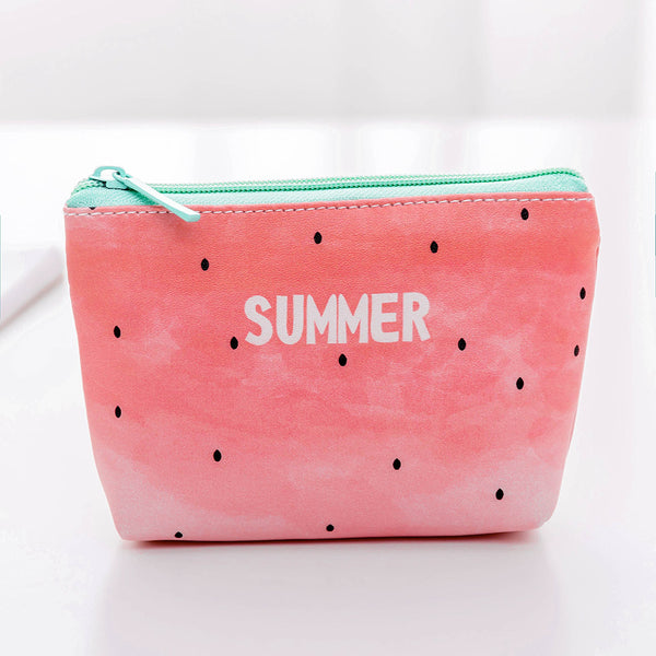 Cartoon Fruit&Rabbit Zipper PU Coin Purse Canvas Bag kiniyo stationary 3797p