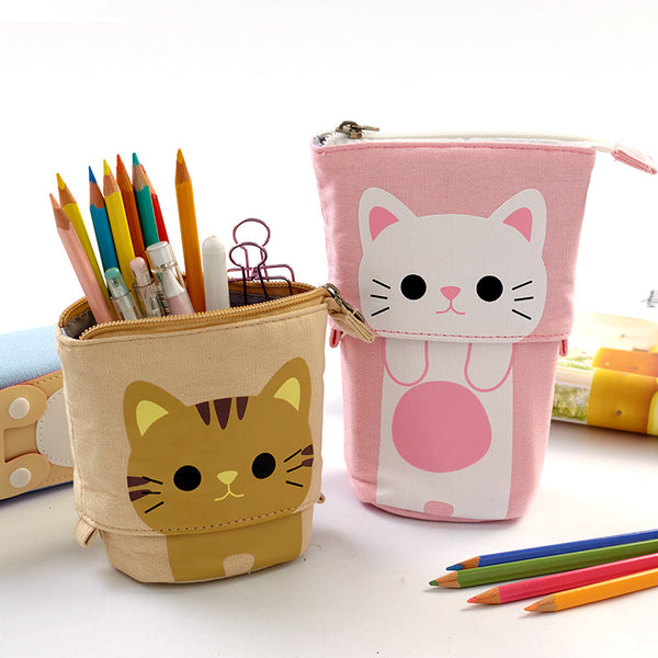 Colorful Portable Double Layer Pen Case & Holder Desktop Organizers kiniyo stationary 4308p