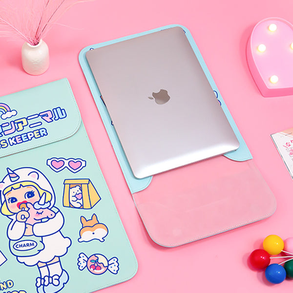 Lovely Green Unicorn Girl Laptop Sleeve Desktop Organizers kiniyo stationary 4159p