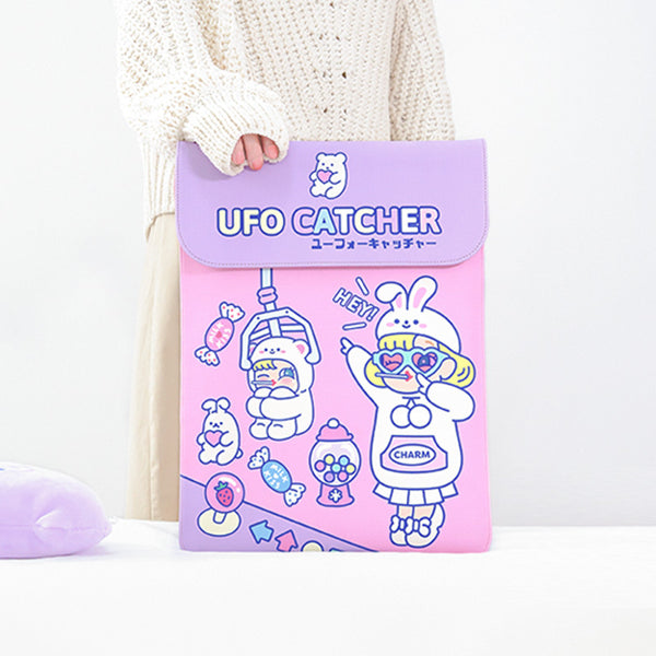 Lovely Pink UFO Catcher Laptop Sleeve Desktop Organizers kiniyo stationary 4144p